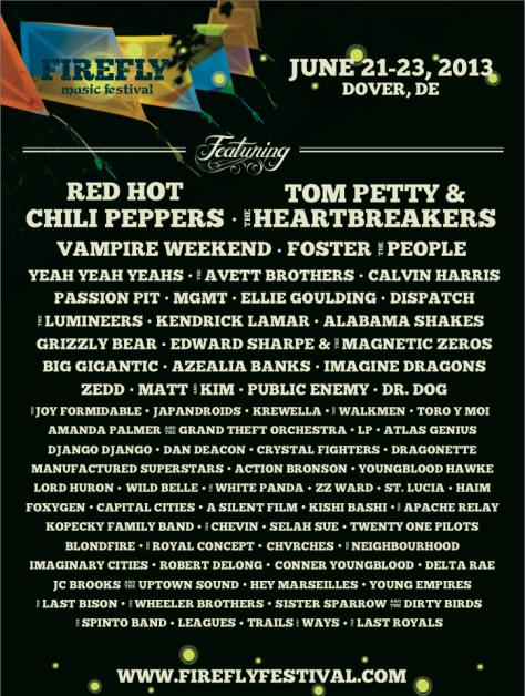FIREFLY FESTIVAL 2013 line-up 2